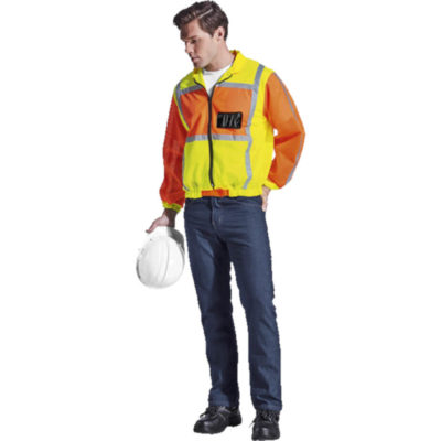 Fluoro Orange/Yellow Contract Long Sleeve Reflective Vest Features A Full Zip Front And Elasticated Cuffs.v