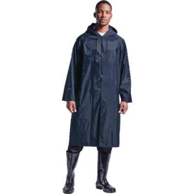 The Contract Rain Coat Is Made From PVC Coated Fabric. Ensures Full Coverage With A Press Stud Front, Hood And An Adjustable Draw Cord.