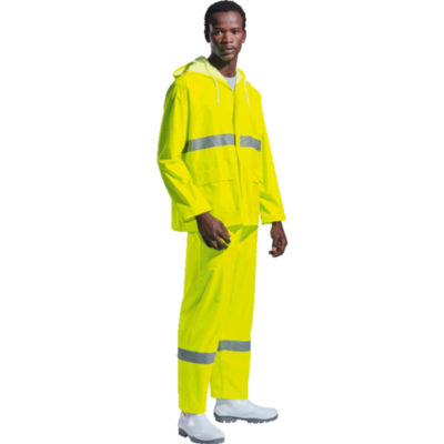 The Contract Reflective Rain Suit Is Made From Polyester, PVC-Coated Fabric. The Features Include Two Front Patch Pockets, Elasticated Cuffs And Storm Flap. The Suit Is 100% Waterproof With Heat Sealed Seams.