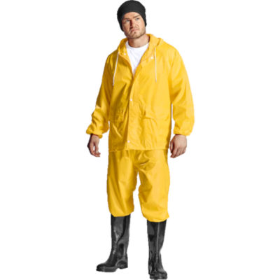 The Contract Rain Suit is a 100% waterproof polyester PVC coated rain jacket and matching long pants. With elasticated cuffs and a storm flap on the jacket. Elasticated waist band and double top stitching throughout on the pants. Both have heat press seams
