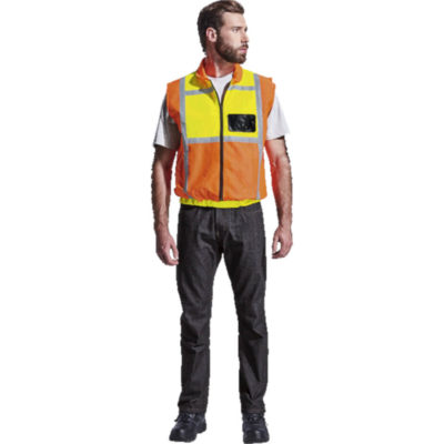 Fluoro Orange/Yellow Contract Long Sleeve Reflective Vest Features A Full Zip Front And Elasticated Cuffs.