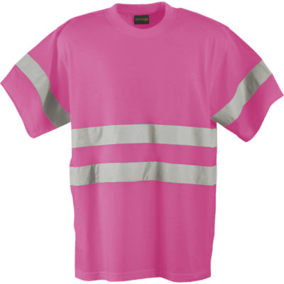 The 150g Poly Cotton Safety With Tape to display the front of the shirt