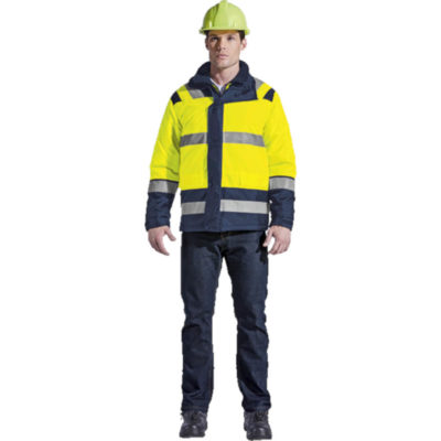 The Yellow/Navy Blaze 4-In-1 Jacket Is Made From 100% Coated Polyester, Water Resistant Oxford Fabric.The Features Include A Front Storm Flap, Adjustable Cuffs, Concealed Hood And Two Front Pocket With Flaps.