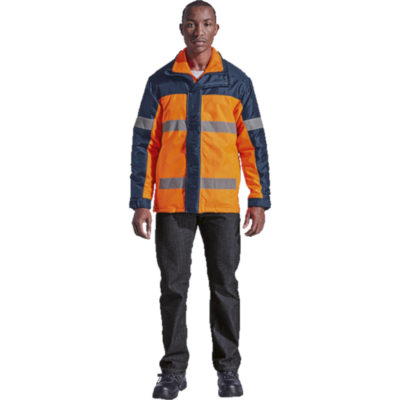 The Safety Orange/Navy Contractor 3-In-1 Jacket Is Made From 100% Coated Polyester, Water Resistant Oxford Fabric.