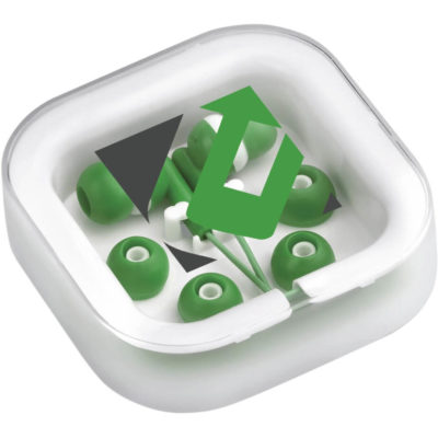 The White Grooves Earbuds are green ABS & PVC earphones with silicone in-ear buds and a 3.5mm audio jack. Packaged in a transparent PVC case