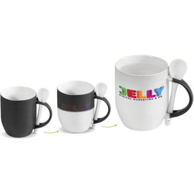 The Chameleon Sublimation Mug with the ability to hold 325ml and the outer wall of mug appears black when cold then turns white when hot beverage is added , revealing logo