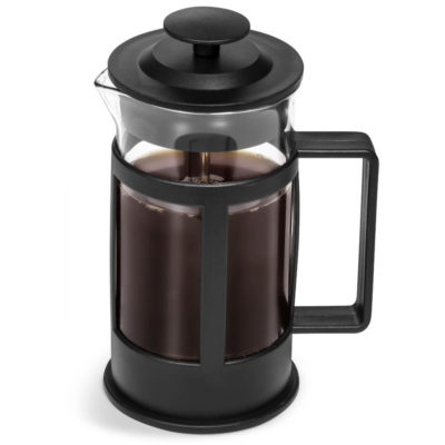 The Barista Coffee Plunger is a glass and black pp jug with a stainless steel plunger