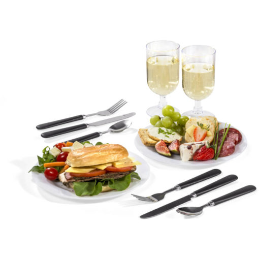 The Avenue Picnic Set includes two PS glasses, plates, knives, forks and spoons