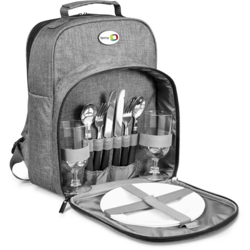 The Avenue Picnic Bag is a polycanvas and aluminium foil lined picnic backpack. Open to display the storage unit of the two persons picnic set. Two plates, knives, forks, spoons and glasses. with adjustable shoulder straps and a carry handle