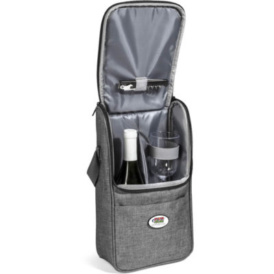 The Avenue Wine Cooler is a polycanvas and aluminium foil lined wine cooler. Open to display the large main compartment that can store one wine bottle and includes two PS glasses and a waiters friend