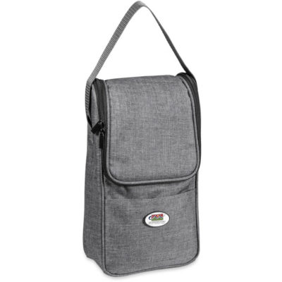 The Avenue Wine Cooler is a polycanvas and aluminium foil lined wine cooler. Closed to display the shoulder strap and main zippered compartment