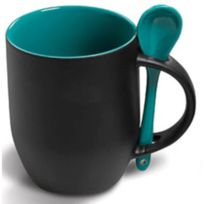 The Chameleon Colour-Changing Mug is black ceramic mug with turquoise inner and sppon to match