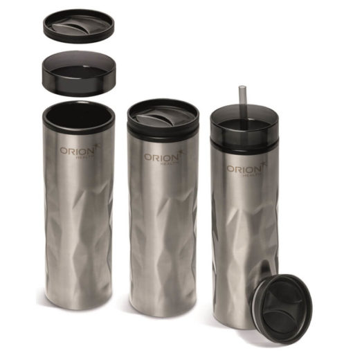 Fire & Ice 2-In-1 Tumbler silver with two lids