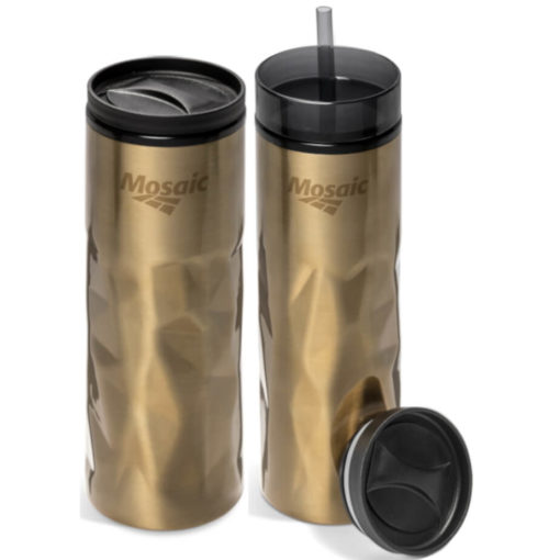 The Fire & Ice 2-In-1 Tumbler gold tumbler with two lids