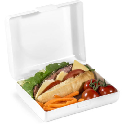 The Meal-Mate Lunch Box is an all white plastic lunch box with a flip lid and secure clip to keep freshness in. The lid is open to display the storage space