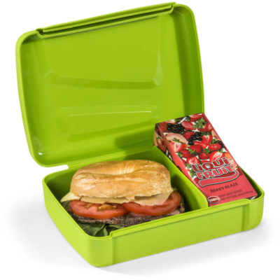 The Eureka Lunch Box is a lime green PP plastic rectangular lunch box with clip closure lid and two compartments inside to store your sandwich and a juice box