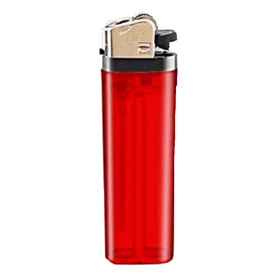 The Red Flint Disposable Translucent Lighter Is Made From Plastic. The Lighter Has Plastic Black Parts With A Metal Clip.