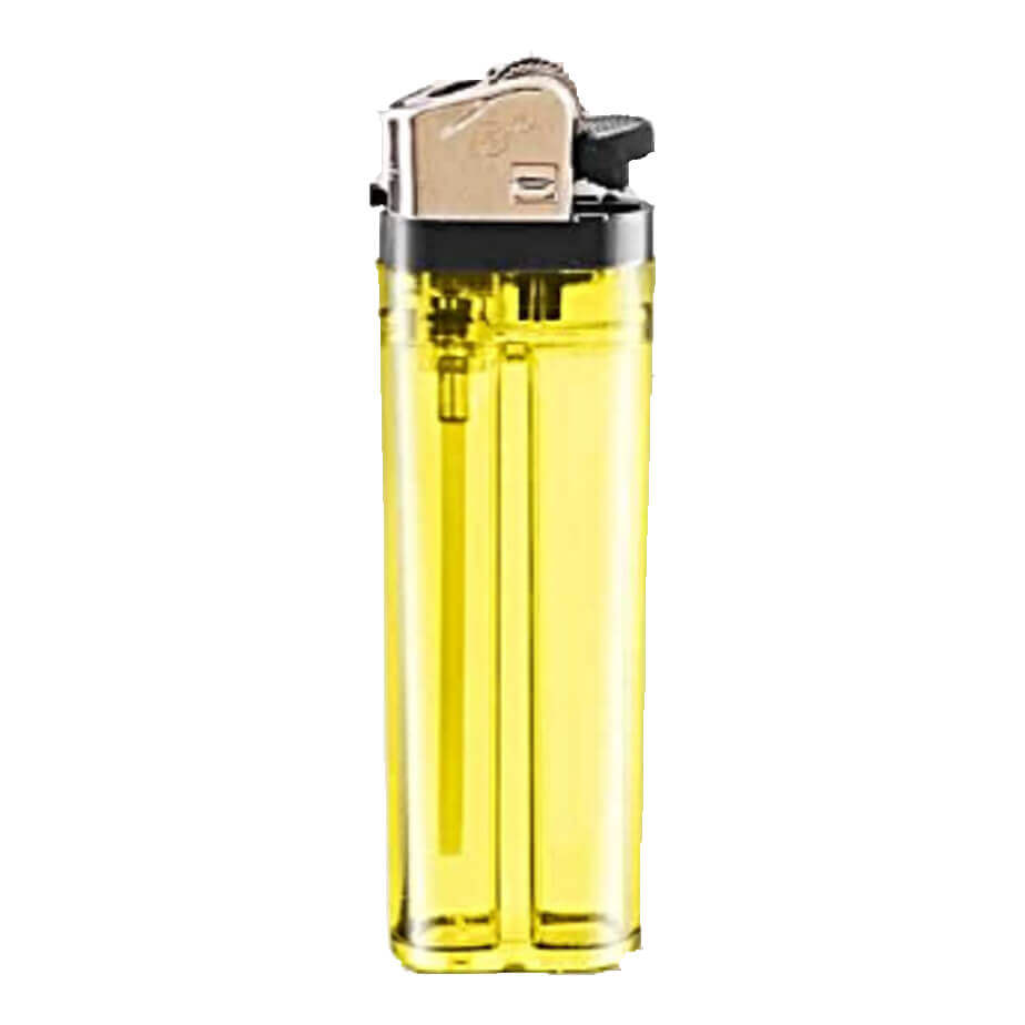 The Yellow Flint Disposable Transparent Lighter Features Plastic Black Parts And A Metal Cap.
