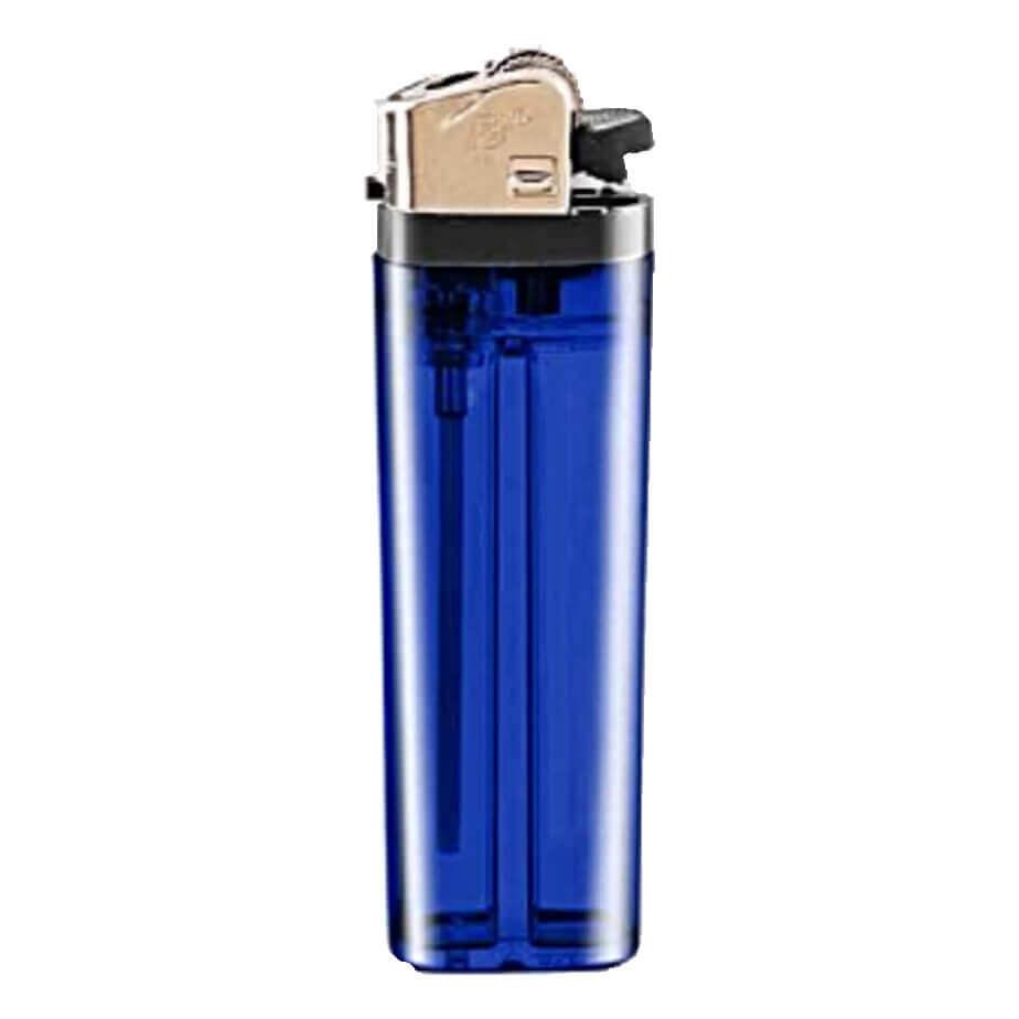 The Dark Blue Flint Disposable Transparent Lighter Features Plastic Black Parts And A Metal Cap.