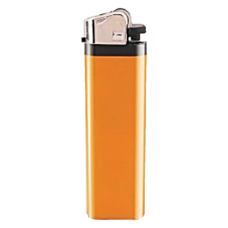 The Orange Flint Disposal Hard Colour Lighter Has A Metal Cap.