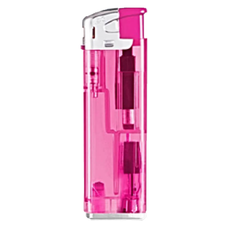 The Pink Electronic Refillable LED Lighter Pink With Colourful Parts And A Chrome Cap Has A Glaring LED Lighter Has A Transparent Colour Plastic Body With Chrome Cap. The Lighter Has A Built In Glaring LED Light.