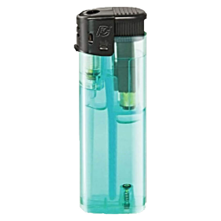 Electronic Refillable Transparent Maxi Lighter Light Blue With Black Parts And A Cap
