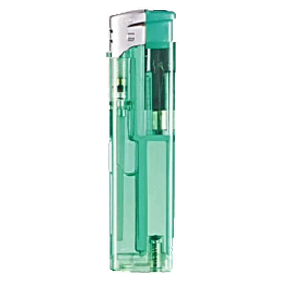 Electronic Refillable Transparent Chrome Cap Lighter Green With Coloured Body, Coloured Parts And A Chrome Cap