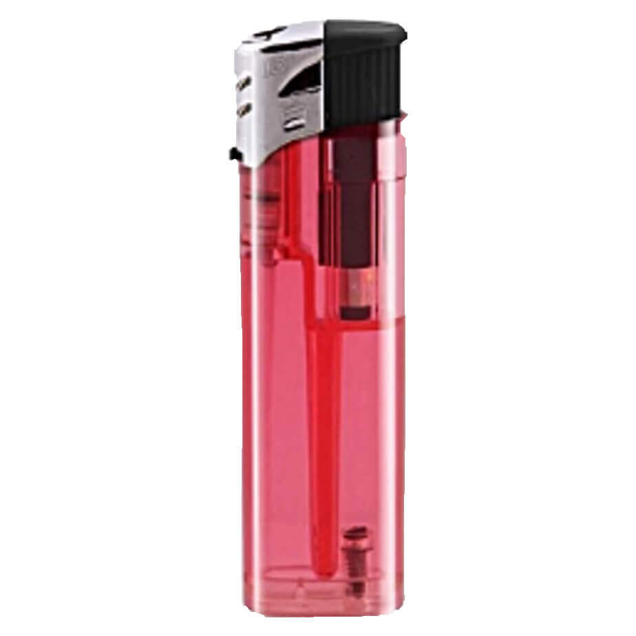 The Red Electronic Refillable Transparent Lighter Has A Transparent Colour Plastic & Black Parts With A Metal Cap.