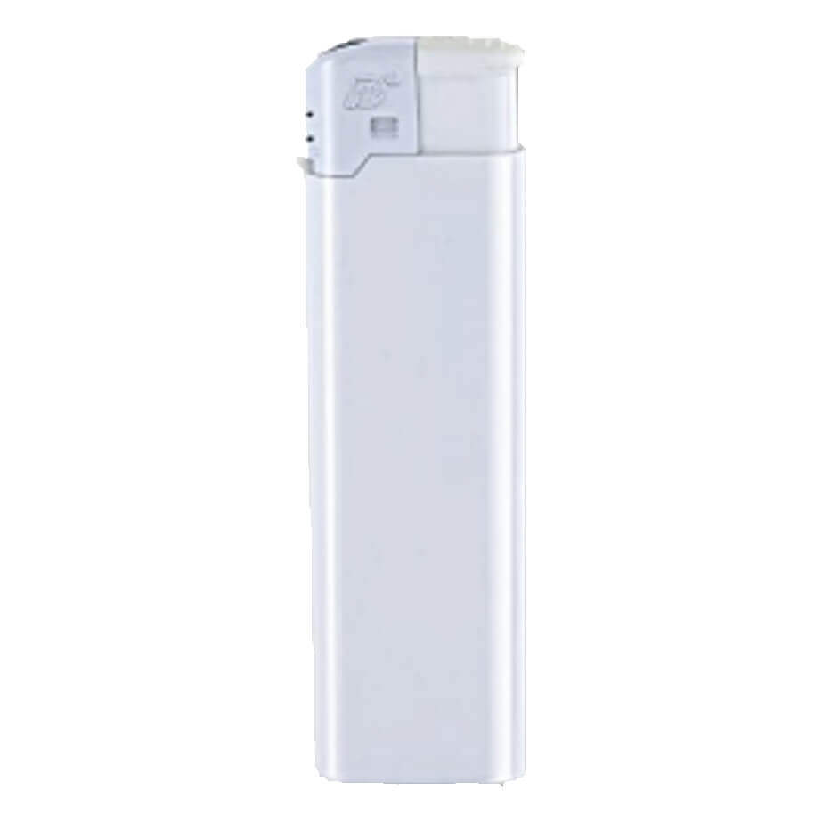 The White Electronic Refillable Lighter Is Made From Plastic. The Lighter Has A Large Area For Branding.