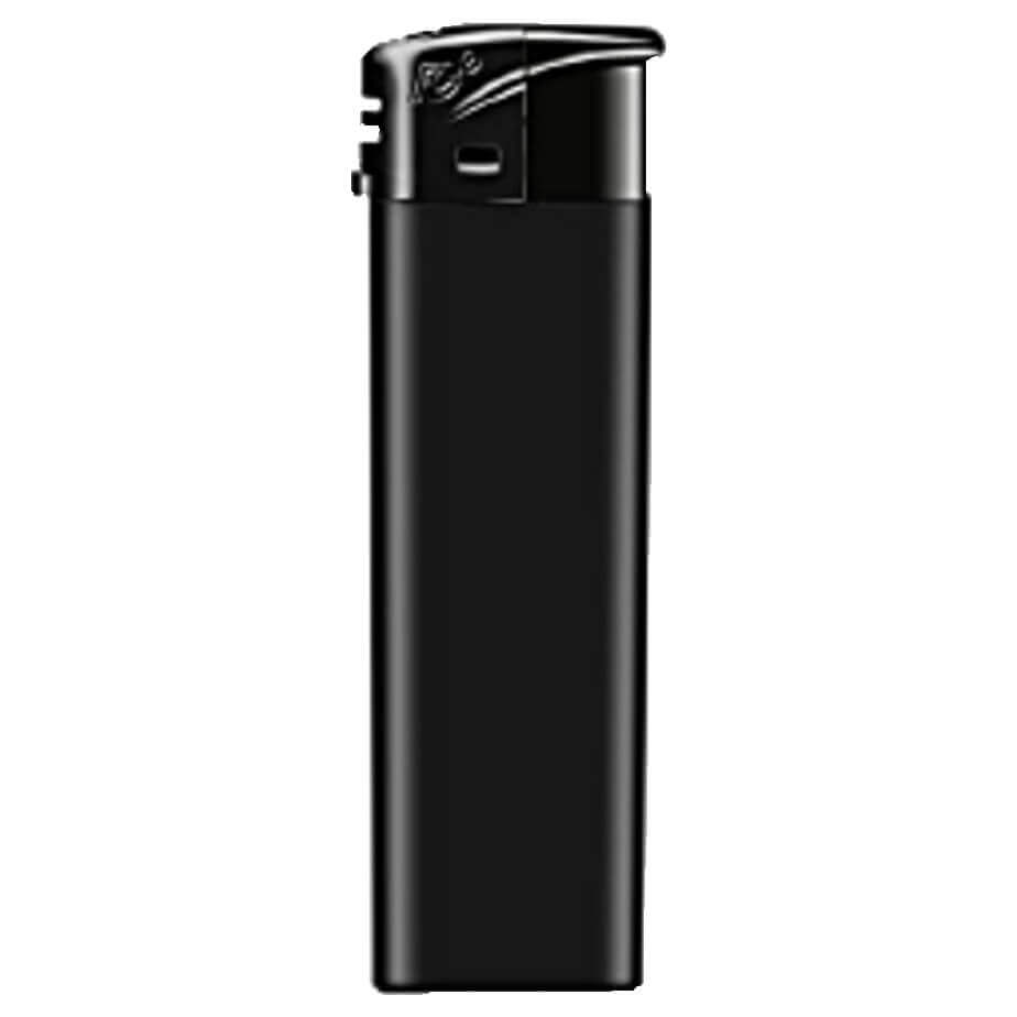 The Black Electronic Refillable Lighter Is Made From Plastic. The Lighter Has A Matte Black Body With A Large Branding Area.
