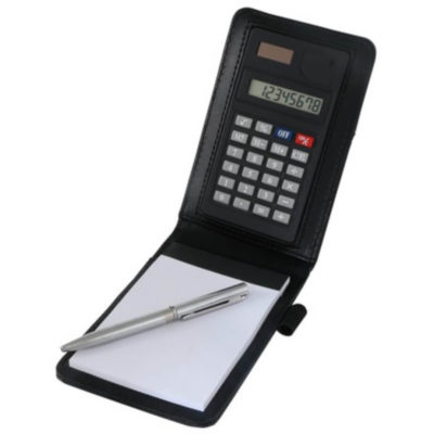 The Pocket Notepad Calculator is a black plastic flip up calculator with a notepad, pen loop and pencil