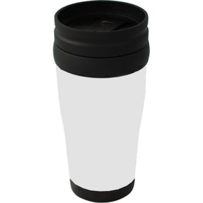 The Plastic Carry Mug in white has a black screw-on insulated lid with a rubber seal. A capacity of 400ml, the mug is made from BPA free plastic