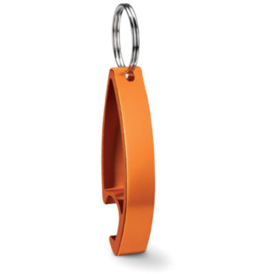 The Aluminium Bottle Opener Keyring is a orange aluminium bottle opener in a unique curved shape with a split ring metal keyholder