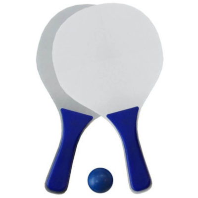 The white and blue Beach Bats & Balls are made from Fibre Board with Polypropylene handles and flat circular pads. Packaged in a mesh bag