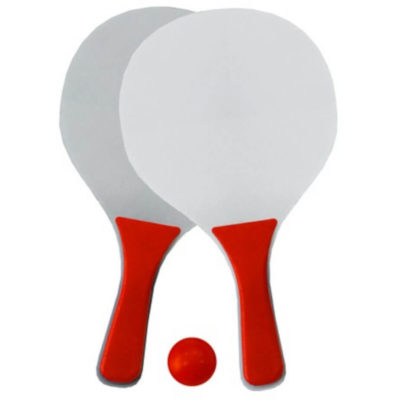 The White And Red Beach Bats & Balls Are Made Frame Fibreboard With Polypropylene Handles And Flat Circular Pads To Hit The Soft / Spongy Red Ball. Packaged In A Mesh Bag