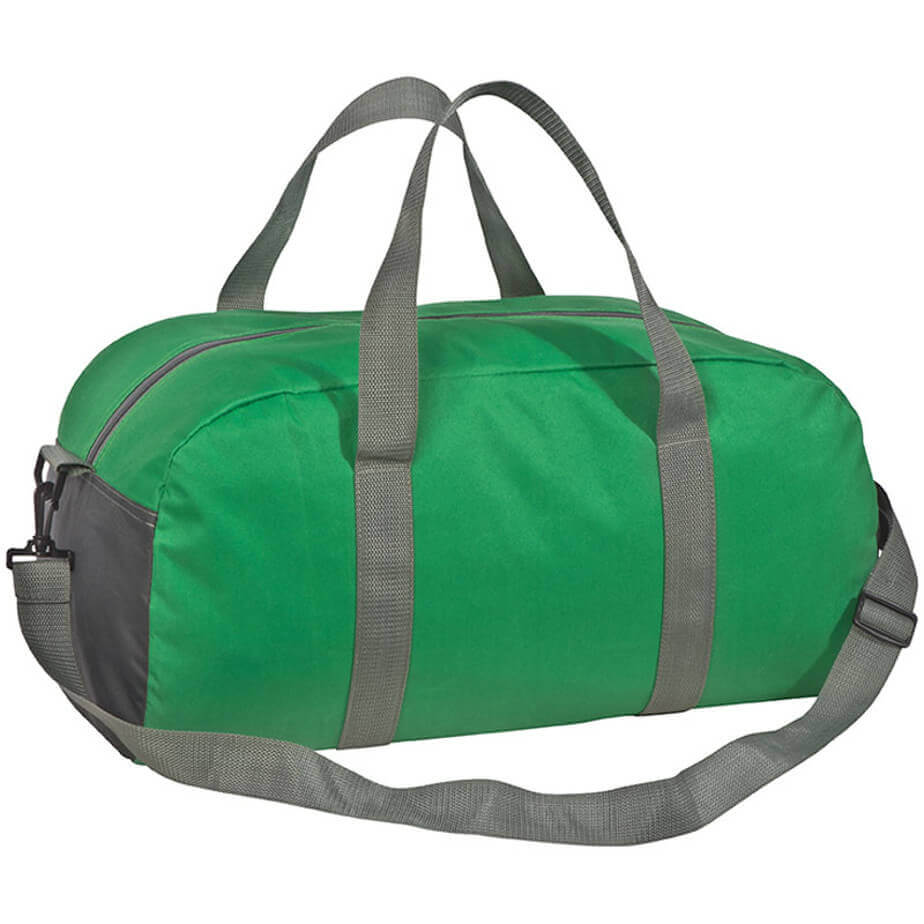 The Green 600D Polyester Sports Bag Has 2 Carry Handles And An Adjustable Shoulder Strap.