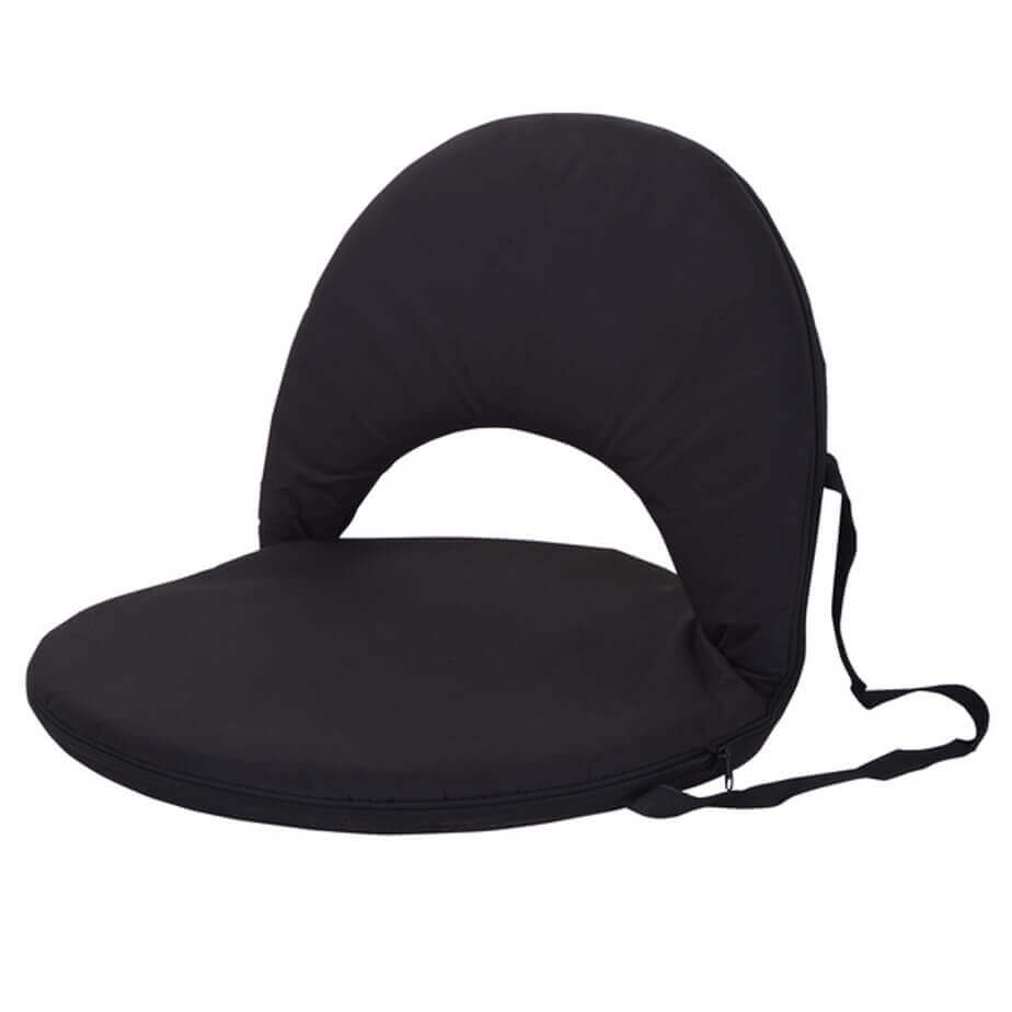 The Black Portable Backrest Chair Is Made From 600D. The Chair Has An Inner Metal Frame And Comes With Carry Straps. The Chair Features Include The Backrest That Can Be Lifted To Secure Back Support.