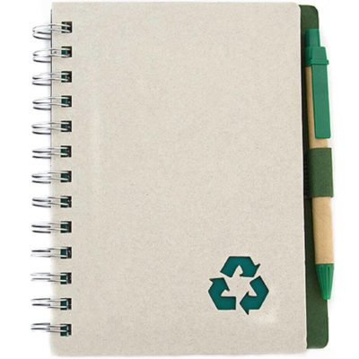The Recycle Pen And Notebook is a hardcover notebook with a spiral spine. Includes 80 lined pages, and an elastic pen loop. With a matching recycled ball point pen that has a green clip and tip