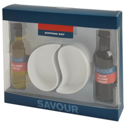 The Olive Oil & Balsamic Vinegar Dip Set contains 1 x 42ml Italian extra virgin olive oil and 1 x 42ml balsamic vinegar glass bottle with black screw on caps and two curvy shaped dipping dished