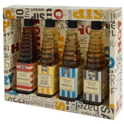 The Syrup Assortment Set contains 4 x 100ml glass bottles each containing cappaccino, vanilla, salted caramel and cinnamon flavoured syrups that can be used to flavour coffee, tea, sodas, milk, shakes, cakes and desserts. Packaged in a pre-branded random word gift box