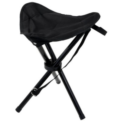 The Tripod Stool is a black 600D fabric fold out seat, with three metal legs and a fabric seating place. Easily collapsible for storage