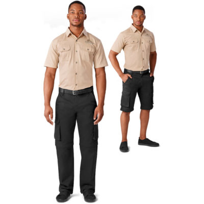 The Cargo Zip Off Pants made from polycotton, sanded twill. The pants features include the half leg Bermuda zip off, side entry pockets and a waist drawstring.