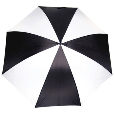The black-white Golf Umbrella with EVA Handle is made from 190T polyester. The umbrella has a wide coverage that is perfect for outdoor.