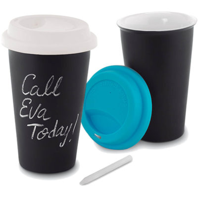 The Chalcky Tumbler features a 350ml tumbler with a silicone lid with double wall ceramic