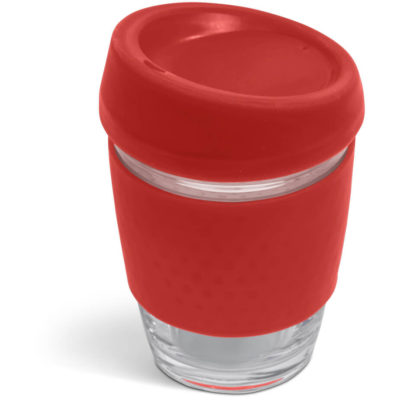 The Kooshty Kup Original is a borosillicate glass with a 340ml capacity and a bright red silicone band and matching lid