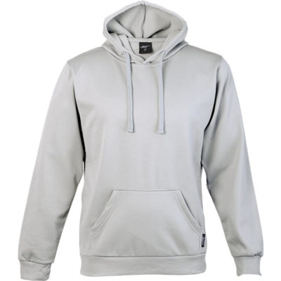 The BRT Performance Hoodie in the colour silver is made from 260g 100% Polyester brushed sports knit material that has a high quality finish, with a flat tonal drawcord and kangaroo pockets.