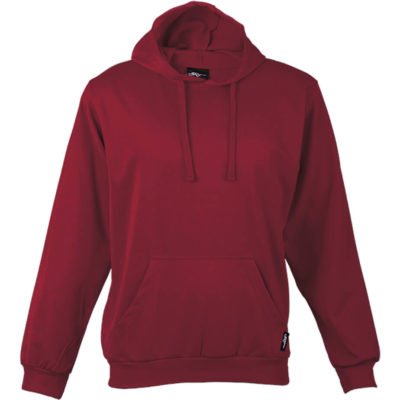 The Kiddies BRT Performance Hoodie in the colour red is made from 260g 100% Polyester brushed sports knit material that has a high quality finish, with a flat tonal drawcord and kangaroo pockets.