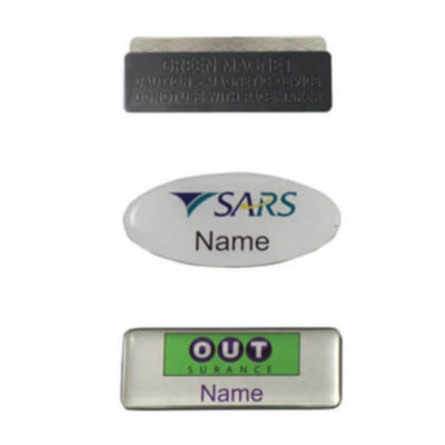The Name Badge Magnet Clip close up to display the magnet clip attachement. Badge is avilable in a variety of rectangular or oval shapes with a domed surface