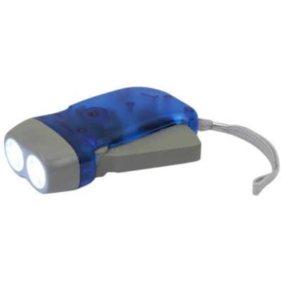 Rotar Torch in blue and grey, no batteries required. Two lights streams and a wristband