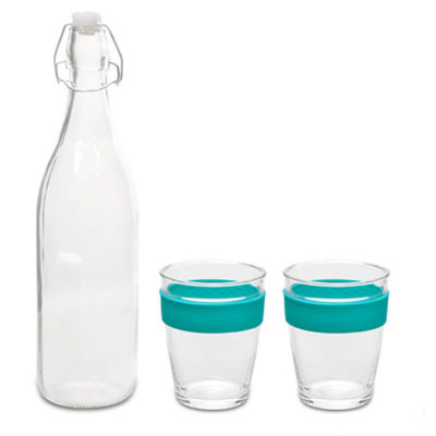 The Turquoise Kooshty Kool Glass Drinking Set Is Made From Borosilicate Glass And Silicone Grip Band. The Set Consists Of A 1 Litre Bottle And 2 Glass Kooshty Kool Kups.
